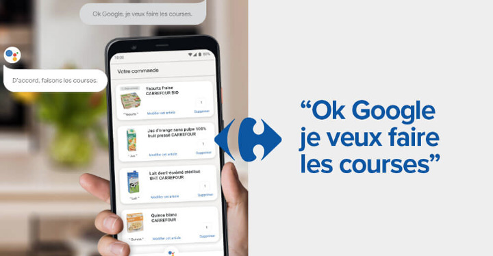 Google Carrefour courses commande vocale