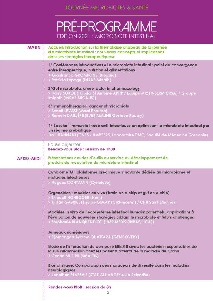 Journée Microbiotes et Santé programme